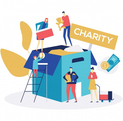 Charity concept - colorful flat design style illustration