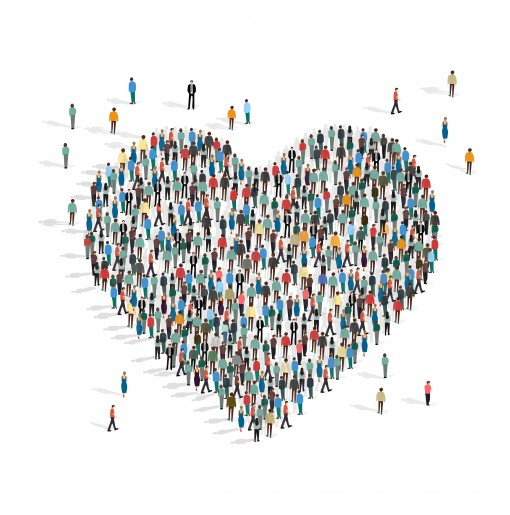 Donations and volunteering. Heart made by people mob on white background, vector illustration in flat style